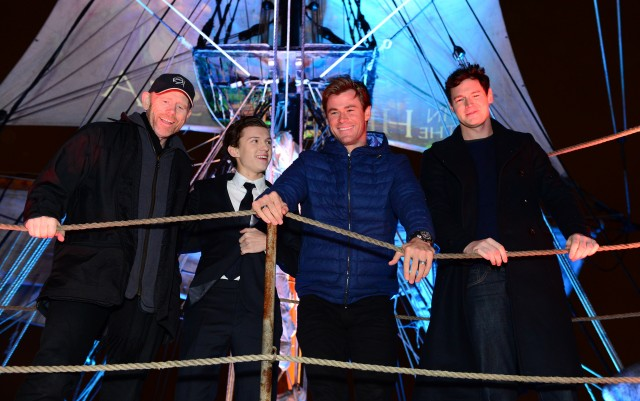 """Chris Hemsworth, Ben Walker, Tom Holland, Ron Howard are seen at the """"In the Heart of the Sea"""" photo call on board The Pheonix, London, UK"""
