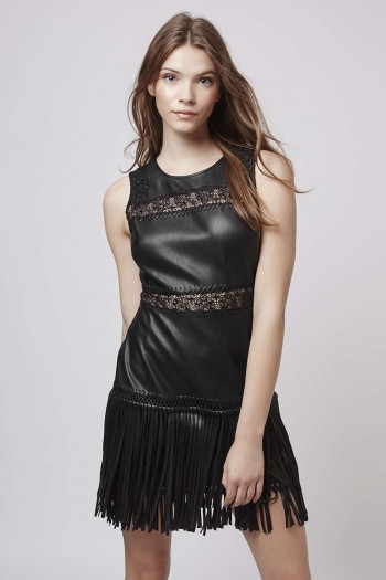 topshop sale, PU Appliqué Trim Fringe Dress