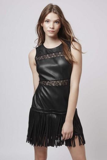 topshop sale, PU Appliqué Trim Fringe Dress