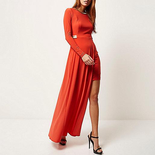 Red embellished high low hem maxi dress