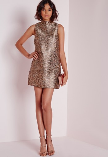 brocade shift dress multi boohoo Christmas Themed Dresses