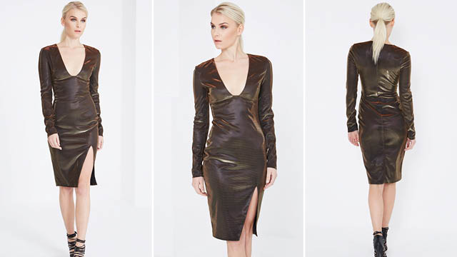 Black & Bronze Metallic Deep Plunge Side Split Midi Dress by Lavish Alice