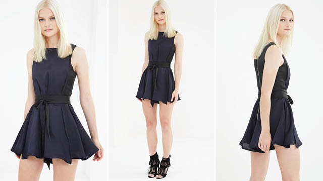 Black & Navy Colourblock Satin Drape Tie Detail Playsuit