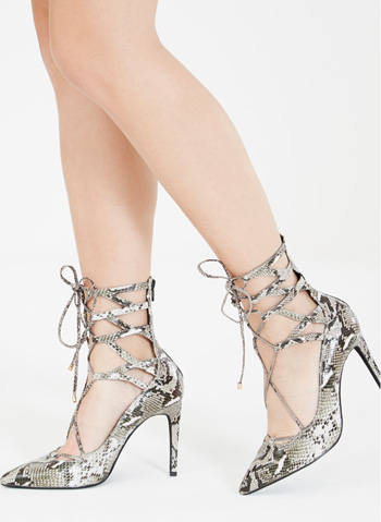 JEFFREY CAMPBELL HIERRO Grey Snakeskin Leather Lace Up Court Shoe available at Lavish Alice