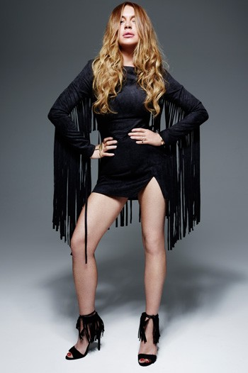 LINDSAY LOHAN X LAVISH ALICE Black Faux Suede Fringe Mini Dress