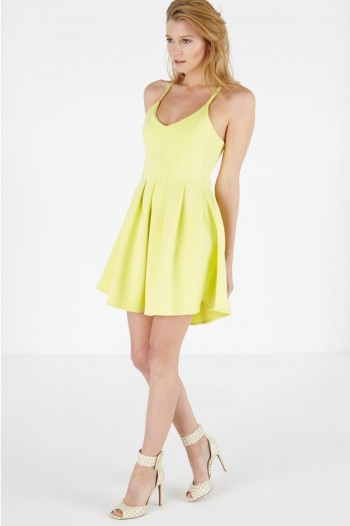 Lavish Alice Lemon Scuba Pleated Peplum Mini Dress