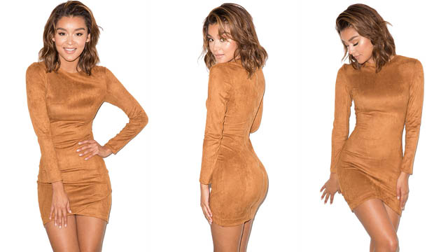 Mistress Rocks dress. The GUNSMOKE TAN SUEDETTE ASYMMETRIC DRESS