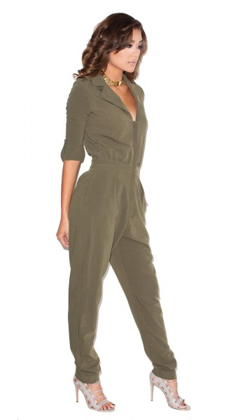 New Recruit Khaki zip up Jumpsuit