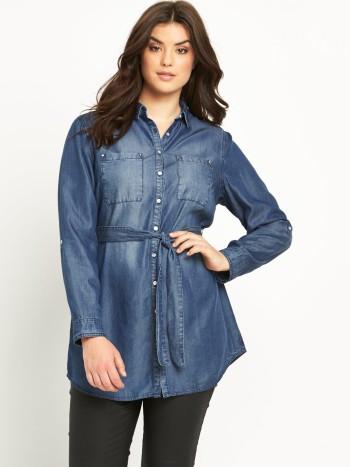 So Fabulous Longline Belted Denim Shirt