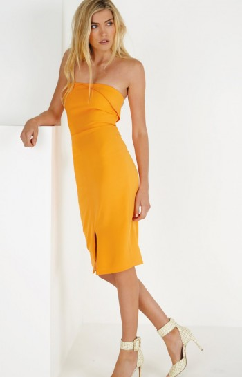Tangerine Bandeau Centre Split Bodycon Midi Dress by Lavish Alice