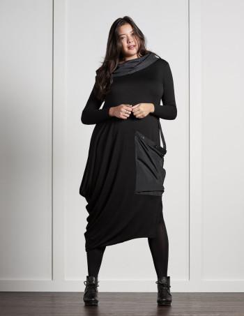 link XXL pocket mixed fabric dress