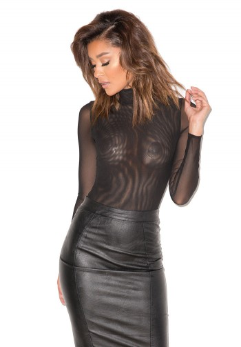moulin black sheer mesh bodysuit by mistress rocks dress