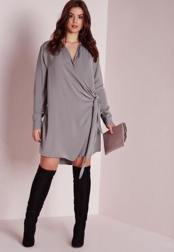 plus size wrap shirt dress grey