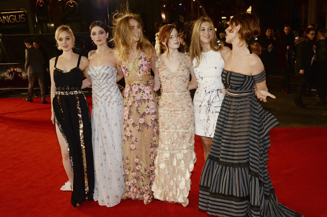 "LONDON, ENGLAND - FEBRUARY 01:  (L-R) Bella Heathcote, Millie Brady, Suki Waterhouse, Ellie Bamber, Hermione Corfield and Lily James attend the red carpet for the European premiere for ""Pride And Prejudice And Zombies"" on at Vue West End on February 1, 2016 in London, England.  (Photo by Dave J Hogan/Dave J Hogan/Getty Images) *** Local Caption *** Bella Heathcote; Millie Brady; Suki Waterhouse; Ellie Bamber; Hermione Corfield and Lily James"