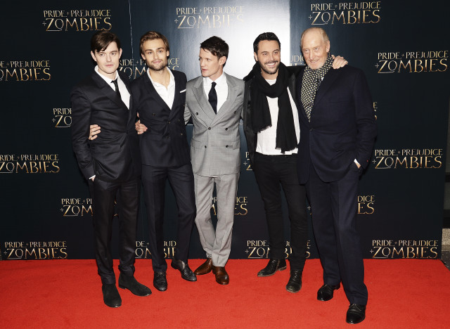 "LONDON, ENGLAND - FEBRUARY 01:  (L-R) Sam Riley, Douglas Booth, Matt Smith  Jack Huston and Charles Dance attend the red carpet for the European premiere for ""Pride And Prejudice And Zombies"" on at Vue West End on February 1, 2016 in London, England.  (Photo by Dave J Hogan/Dave J Hogan/Getty Images) *** Local Caption *** Sam Riley; Douglas Booth; Matt Smith; Jack Huston; Charles Dance"