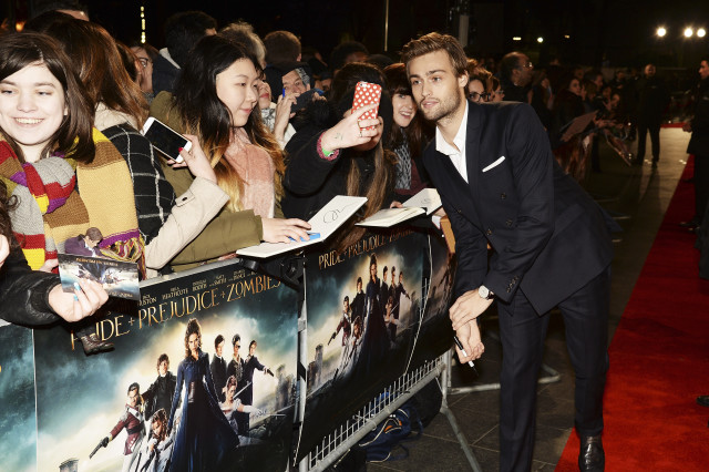 "LONDON, ENGLAND - FEBRUARY 01:  Douglas Booth attends the red carpet for the European premiere for ""Pride And Prejudice And Zombies"" on at Vue West End on February 1, 2016 in London, England.  (Photo by Dave J Hogan/Dave J Hogan/Getty Images) *** Local Caption *** Douglas Booth"