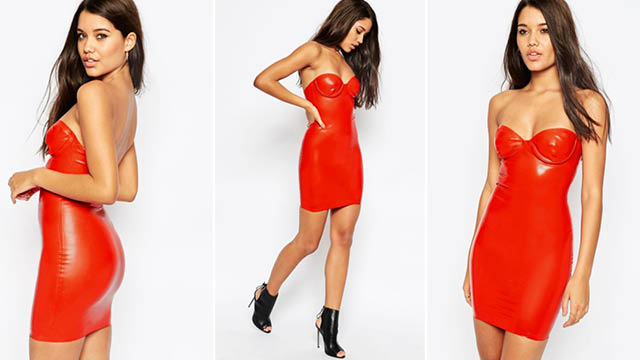 Image 2 of ASOS Kim Latex Underwire Mini Slip Dress