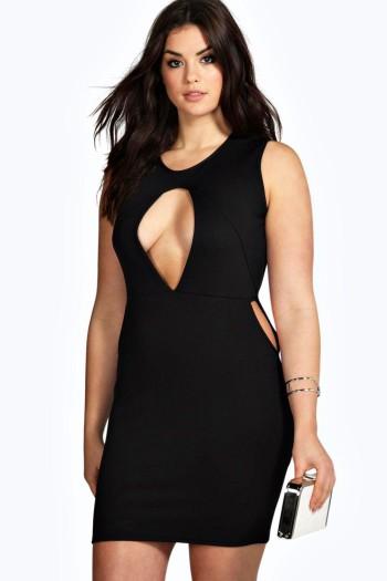 pretty plus size Plus Jade Cut Out Detail Bodycon Dress