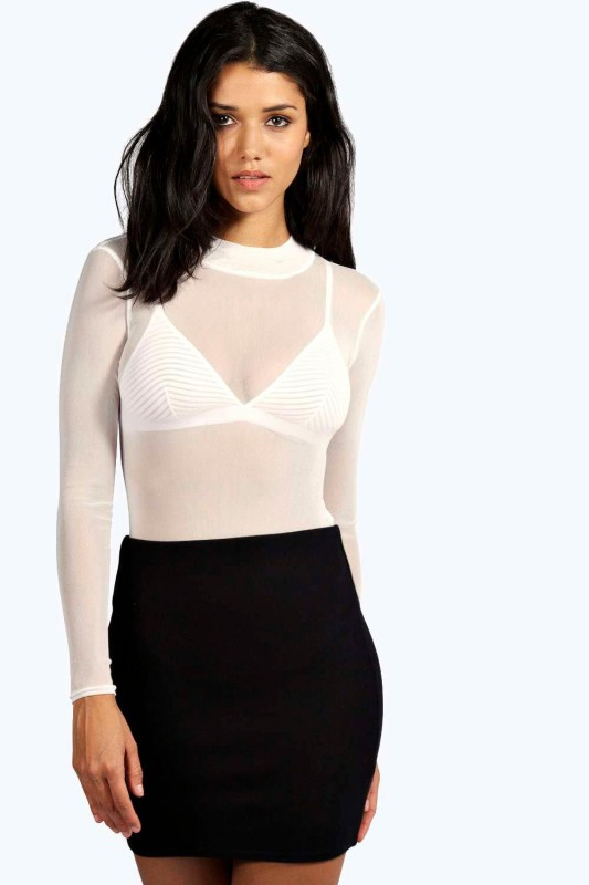 Rose Turtle Neck All Over Mesh Body