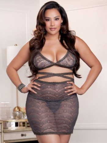 Perfect plus size - Strappy Lace Bralette and Skirt Set