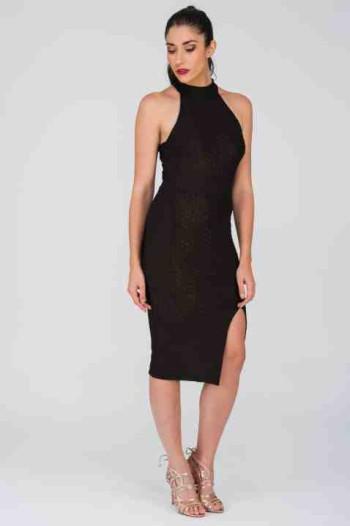 Black Lurex Ripple Halter Dress