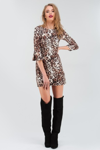 Leopard Print Flute Sleeve Tunic Dress