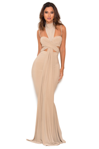 'Nou' TAUPE CROSSOVER BUST MAXI DRESS
