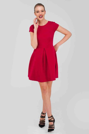 Jane Norman Red Textured Heart Skater Dress