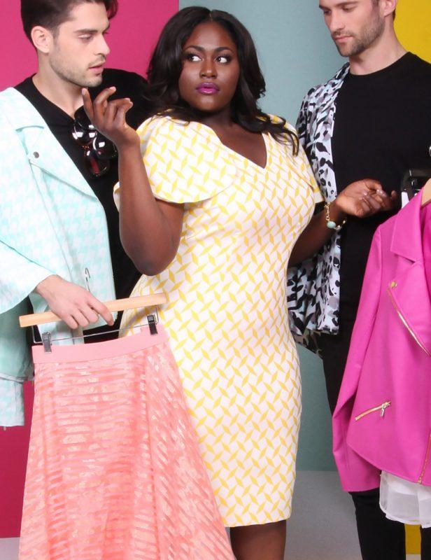 Lane Bryant x Christian Siriano Jacquard Cape Sleeve Dress