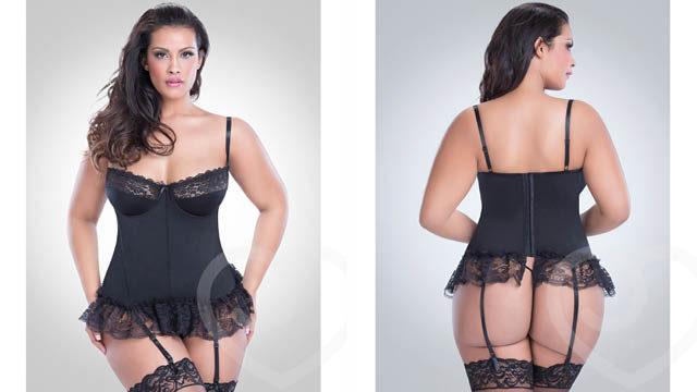Oh La La Cheri Curves Plus Size Lace Trim Basque Set