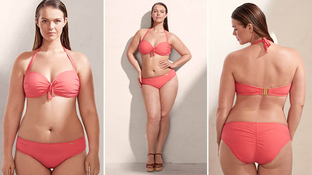 Mango plus size - Ruched detail bikini £69.99 features gathered detail, strap fastening, hook fastening, decorative fringing, metallic appliqué, elastic finish.