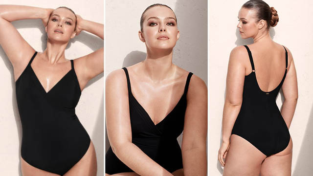 Mango plus size - Wrap v-neckline swimsuit