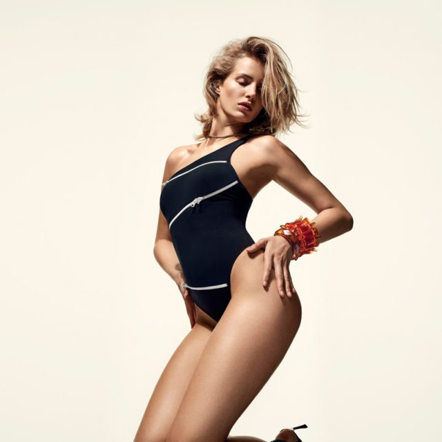 44acb829b2 Up your game in Hatty with a striking fishnet lining and athletic detailing Agent  Provocateur monochrome swimsuits 2016