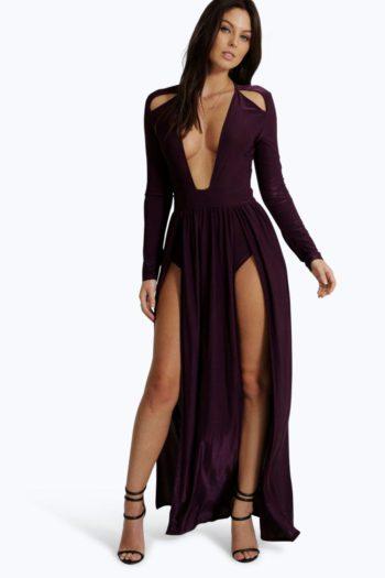 Amy Long Sleeve Square Neck Plunge Maxi Dress