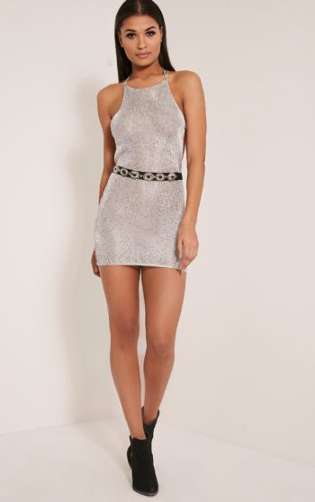 Charlay Silver Metallic Halterneck Mini Dress 1