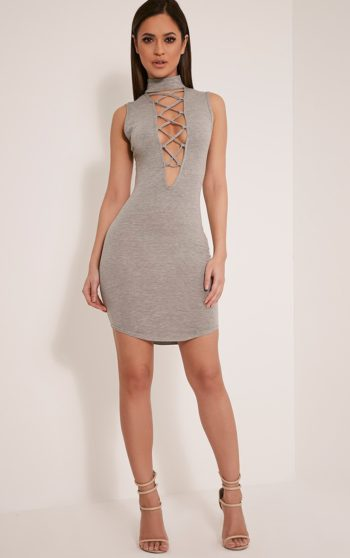 Fran Grey Neck Band Lace Up Front Bodycon Dress