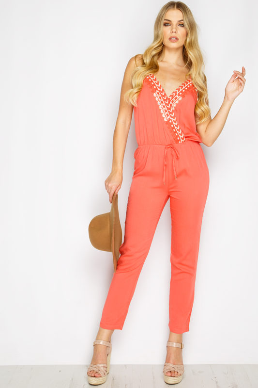 Frankie Coral Aztec Embroidered Jumpsuit