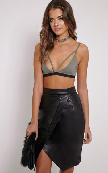 Greer Black Faux Leather Wrap Midi Skirt