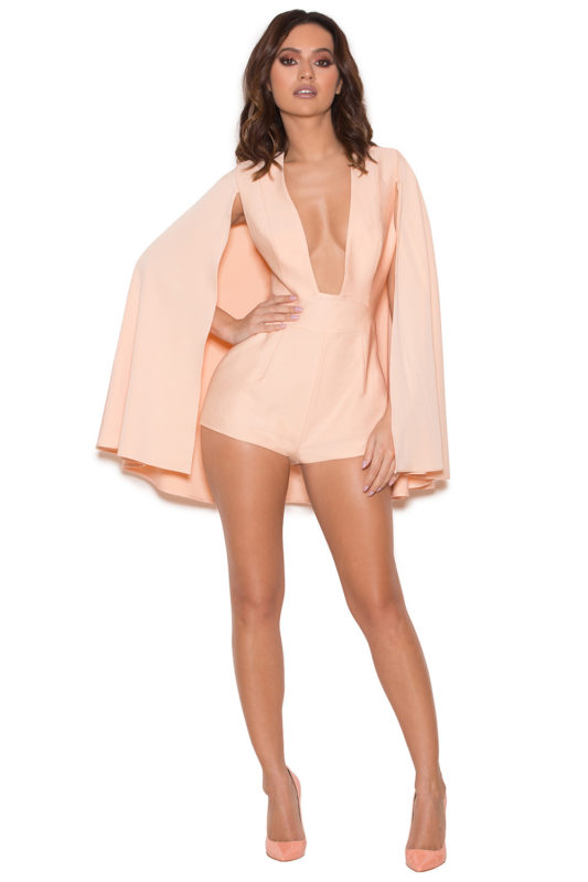 maren blush silky jersey caped playsuit
