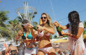 Amy Willerton, Vogue Williams and Nadia Forde party at Lipsy Ocean Beach Spray Party in Ibiza