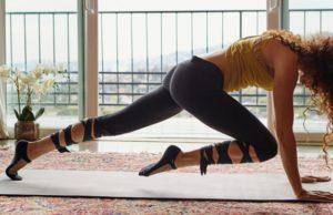 FP Movement Avalon Crop Top, Black Moon Bra, Motion Legging and Moon Dust Yoga Sock
