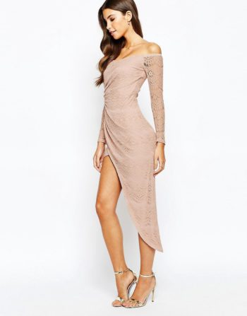 Love Triangle Off Shoulder Lace Dress With Asymmetric Skirt