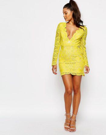 Love Triangle V Neck Mini Dress in Lace