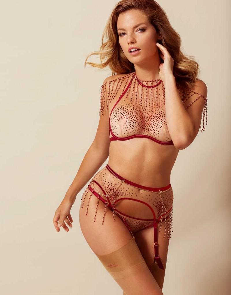 Sashah Suspender Nude And Burgundy