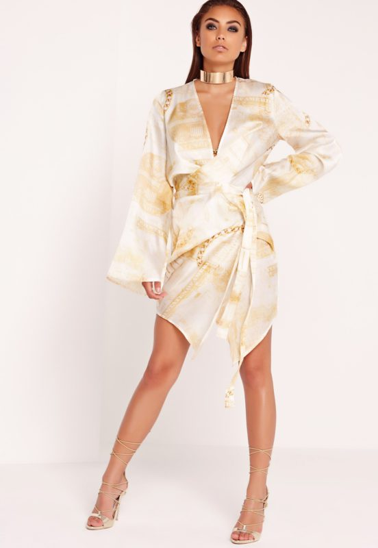 peace + love dollar print kimono wrap dress gold