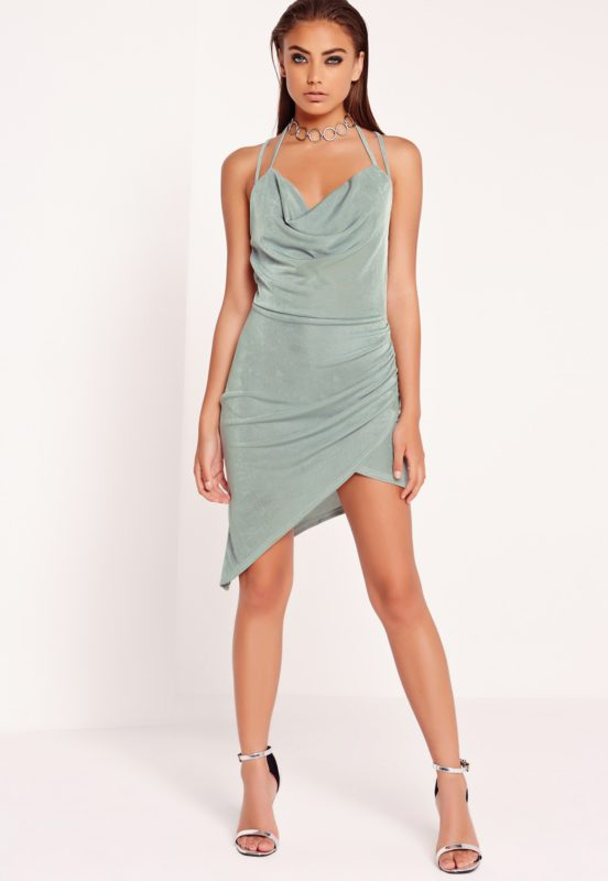 peace + love slinky midi dress duck egg blue