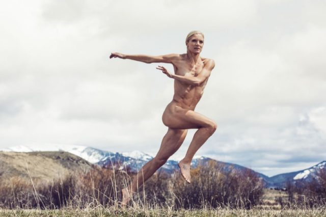 Emma Coburn poses in ESPN's 2016 Body Issue