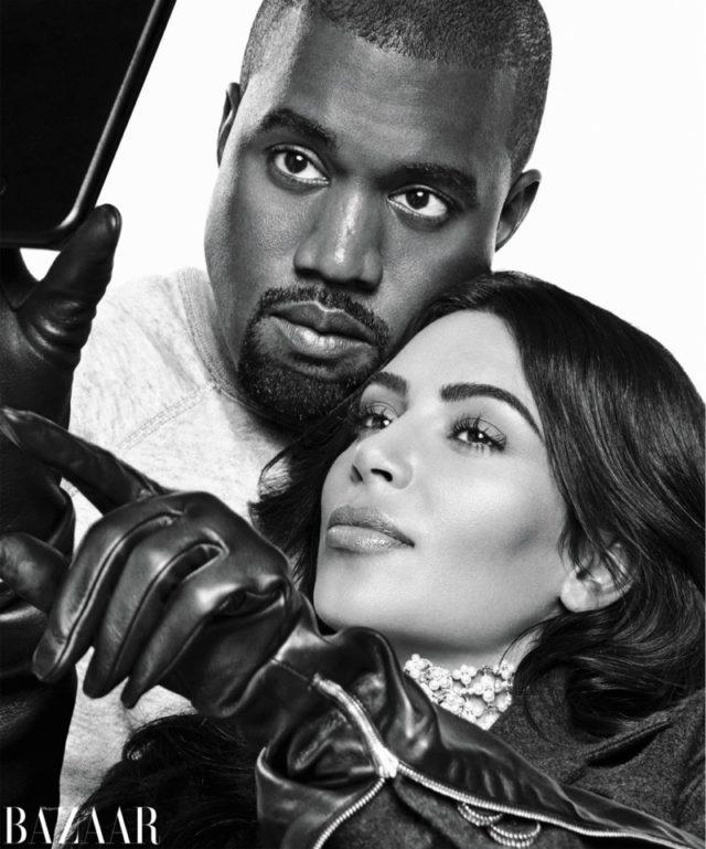 Kanye West and Kim Kardashian take a selfie in black and white