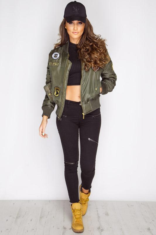 Megan McKenna Khaki Badged Bomber Jacket