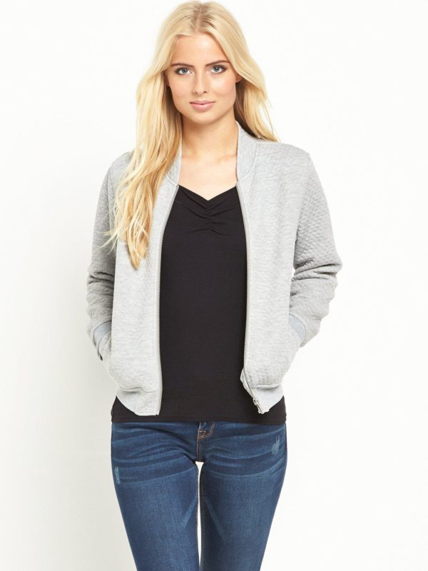 Superdry Micro Quilt Bomber - Grey Marl